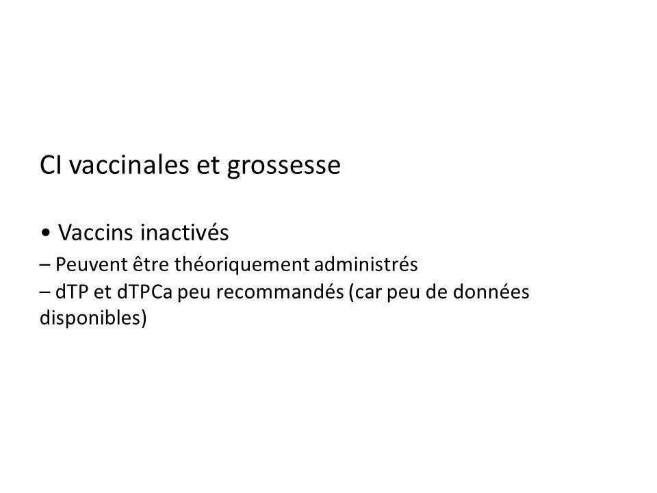 CI vaccinales et grossesse • Vaccins inactivés