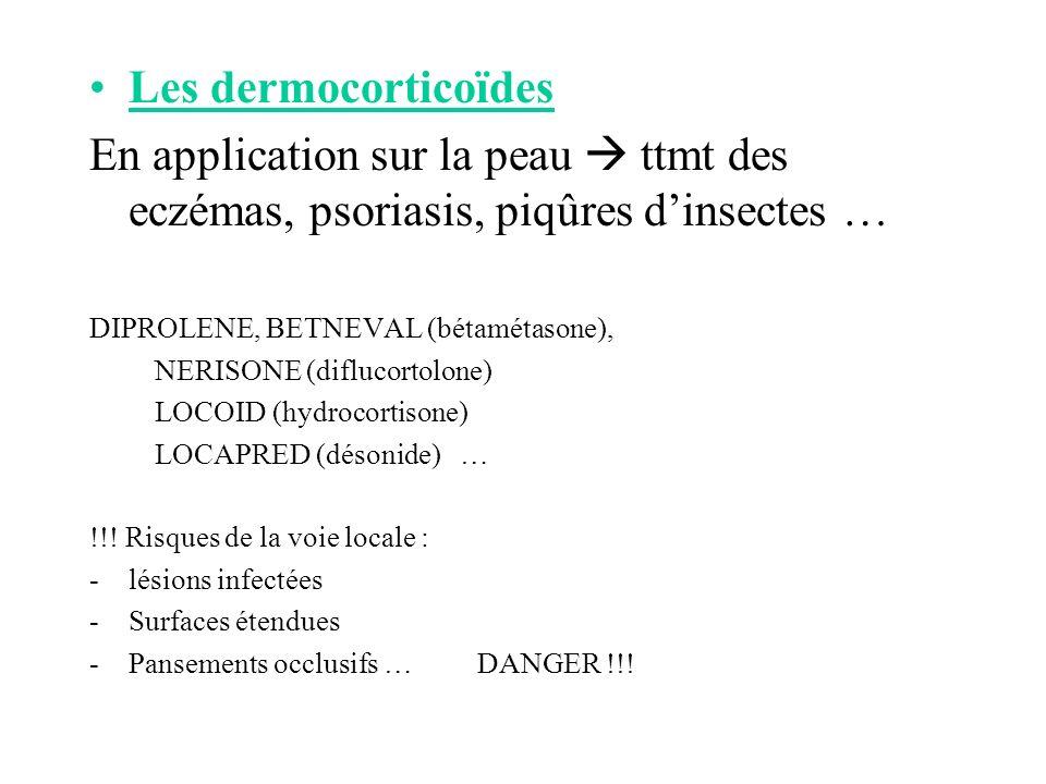Les dermocorticoïdes En application sur la peau  ttmt des eczémas, psoriasis, piqûres d'insectes …