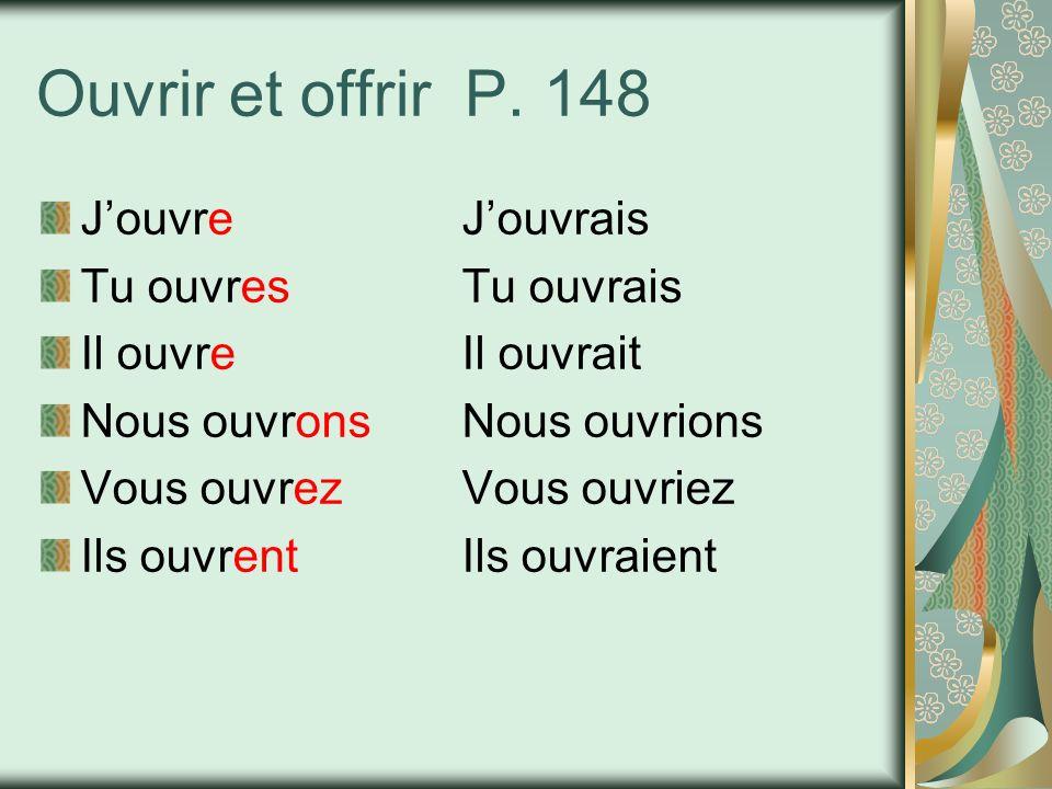 Ouvrir et offrir P. 148 J'ouvre J'ouvrais Tu ouvres Tu ouvrais