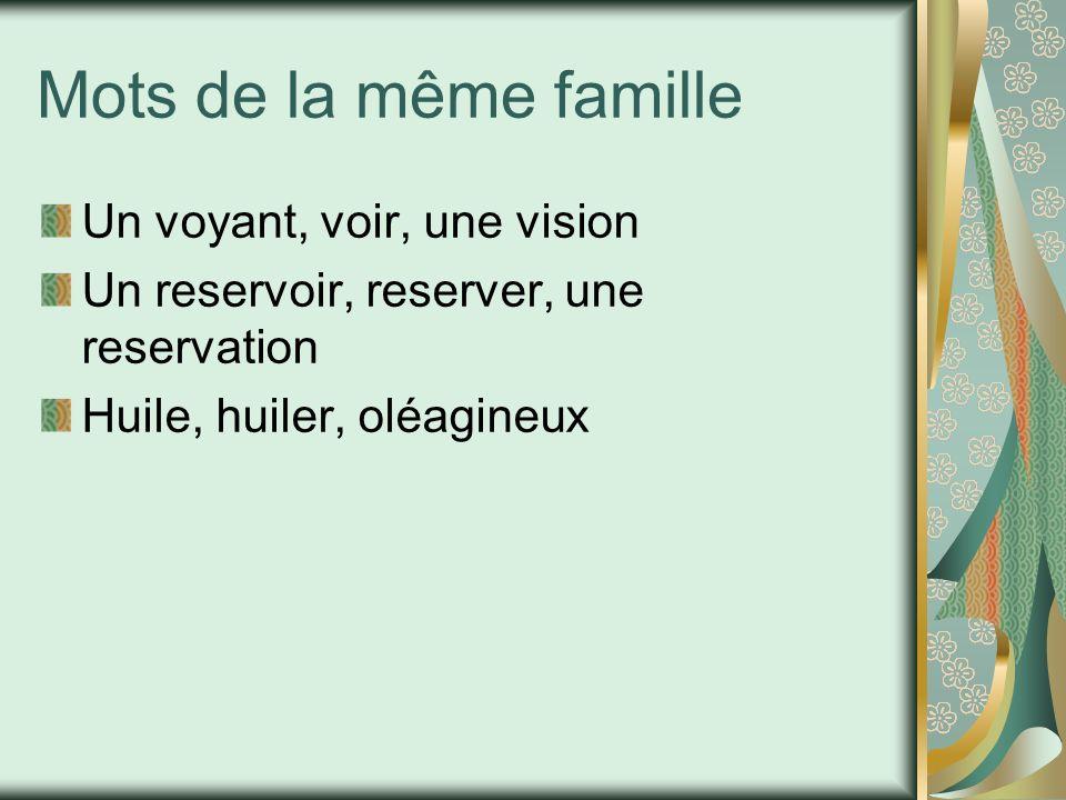 Mots de la même famille Un voyant, voir, une vision
