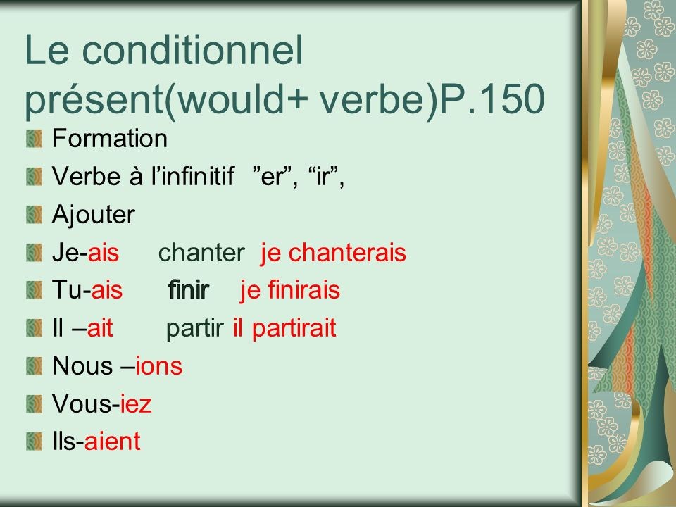 Le conditionnel présent(would+ verbe)P.150