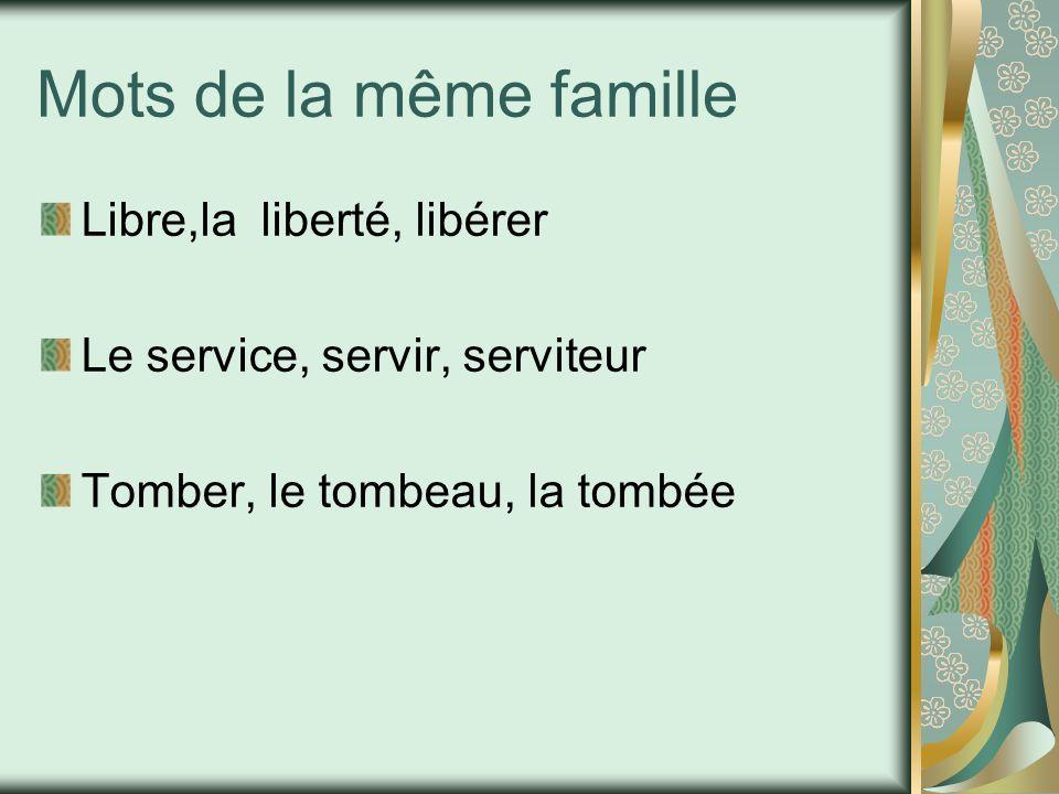 Mots de la même famille Libre,la liberté, libérer
