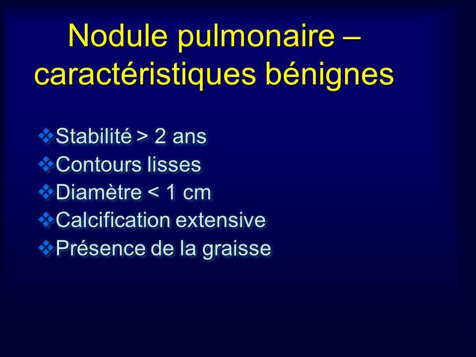 Nodule pulmonaire – caractéristiques bénignes