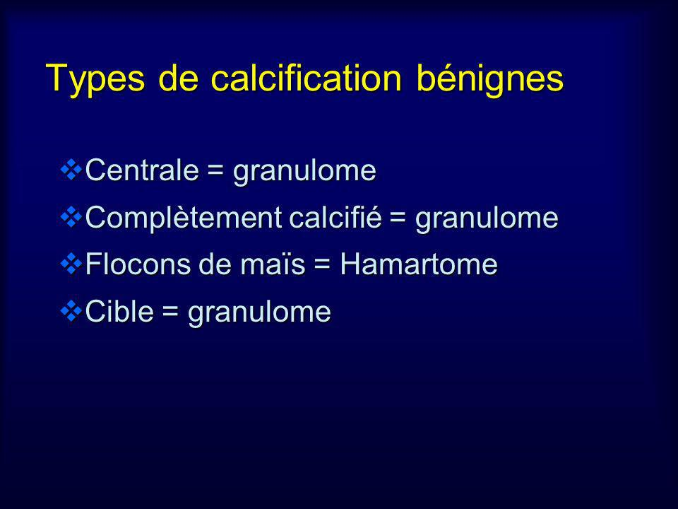 Types de calcification bénignes