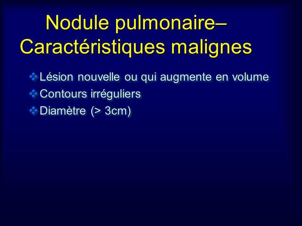 Nodule pulmonaire– Caractéristiques malignes