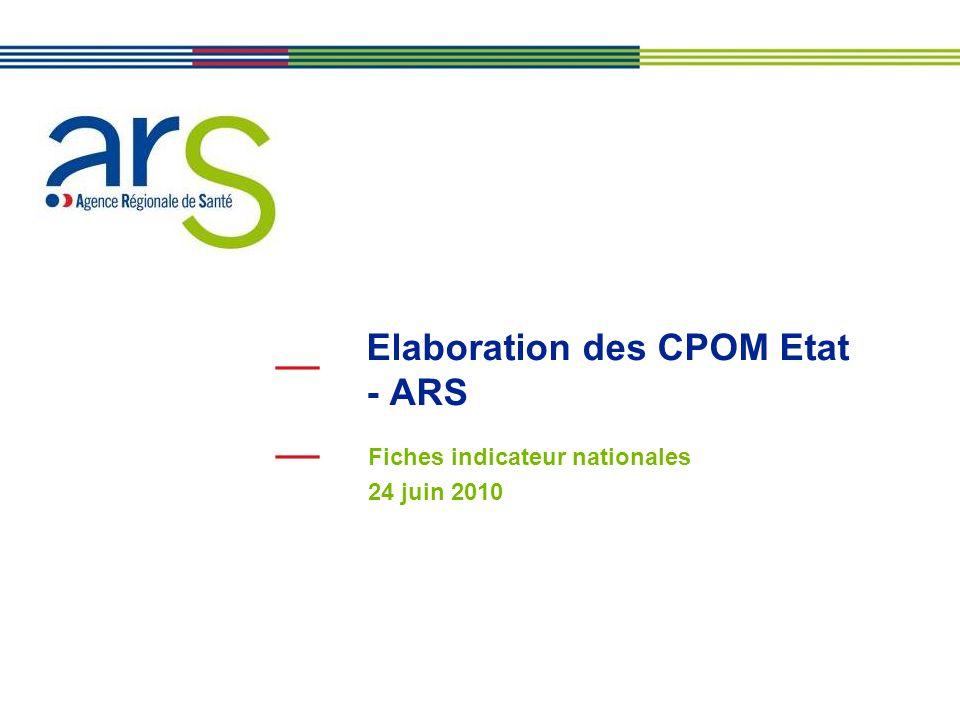 Elaboration des CPOM Etat - ARS