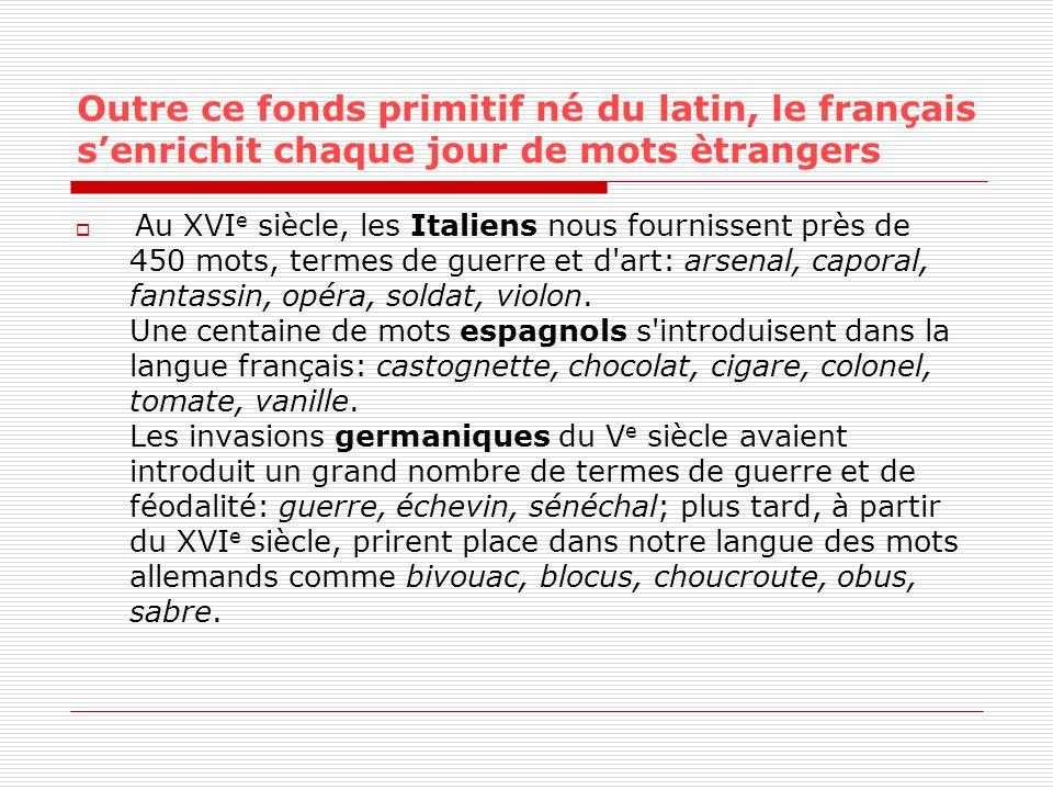 Outre ce fonds primitif né du latin, le français s'enrichit chaque jour de mots ètrangers