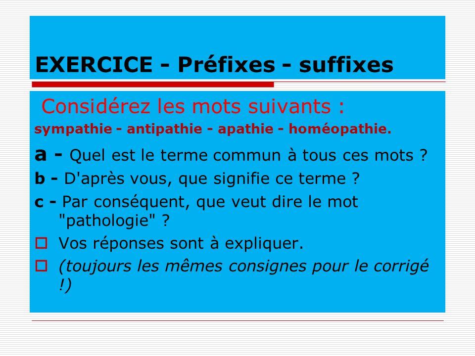 EXERCICE - Préfixes - suffixes