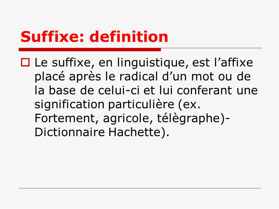 Suffixe: definition