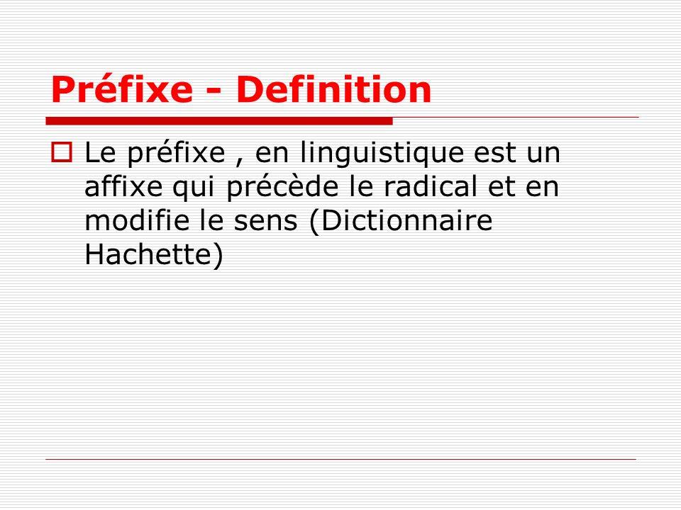 Préfixe - Definition Le préfixe , en linguistique est un affixe qui précède le radical et en modifie le sens (Dictionnaire Hachette)