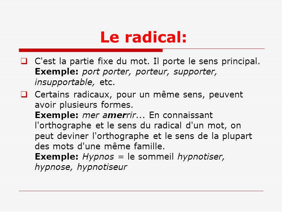 Le radical: C est la partie fixe du mot. Il porte le sens principal. Exemple: port porter, porteur, supporter, insupportable, etc.