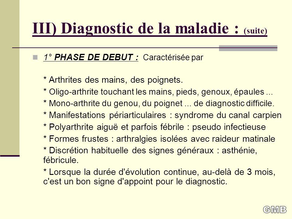 III) Diagnostic de la maladie : (suite)