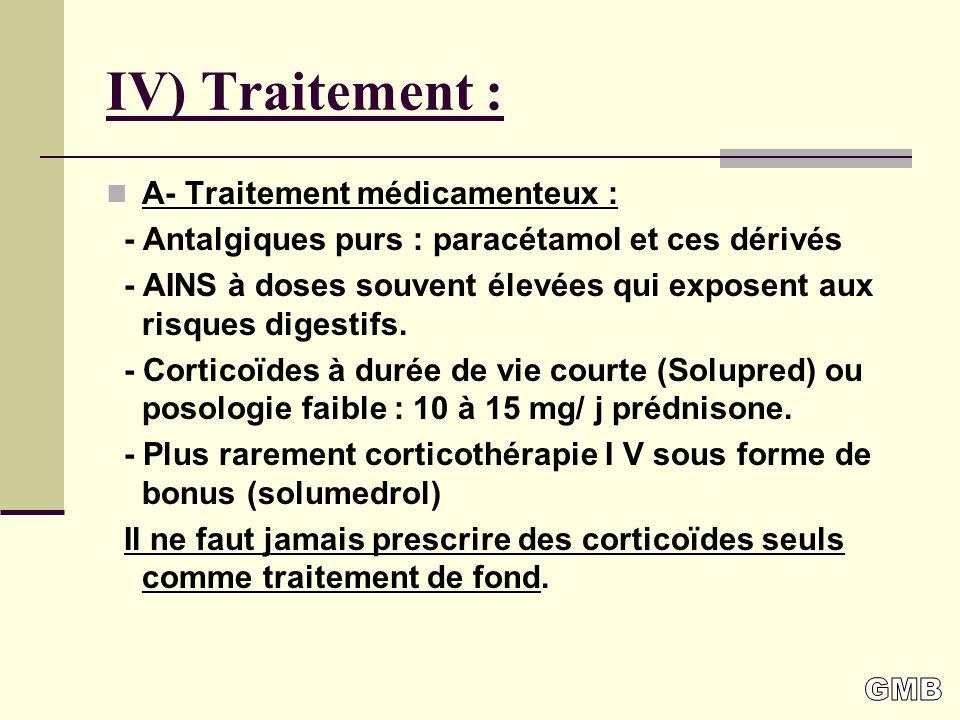 IV) Traitement : A- Traitement médicamenteux :