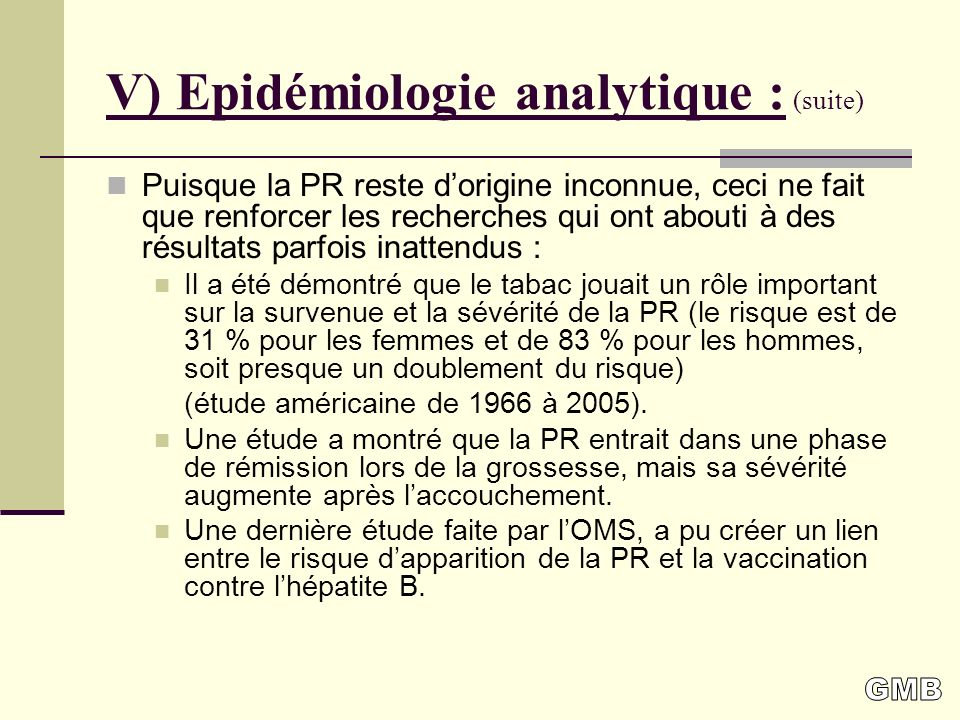 V) Epidémiologie analytique : (suite)