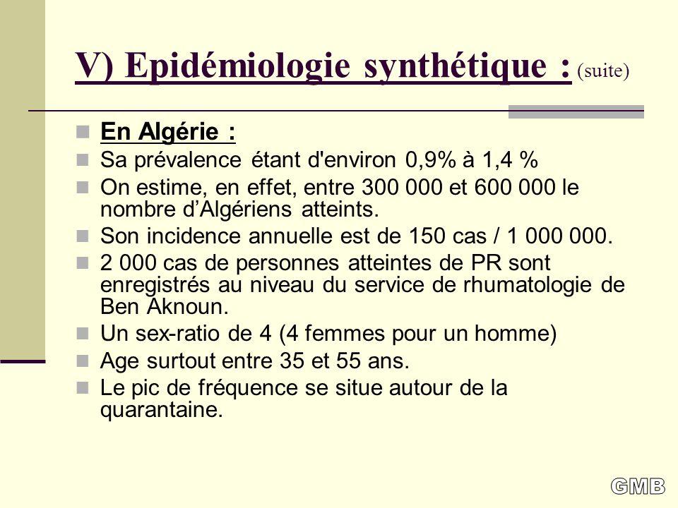 V) Epidémiologie synthétique : (suite)