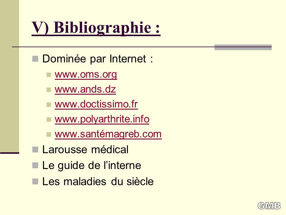 V) Bibliographie : Dominée par Internet : Larousse médical