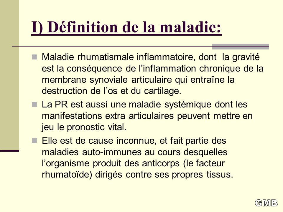 I) Définition de la maladie: