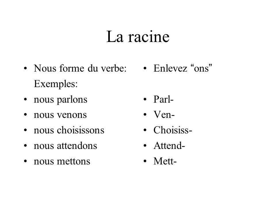 La racine Nous forme du verbe: Exemples: nous parlons nous venons