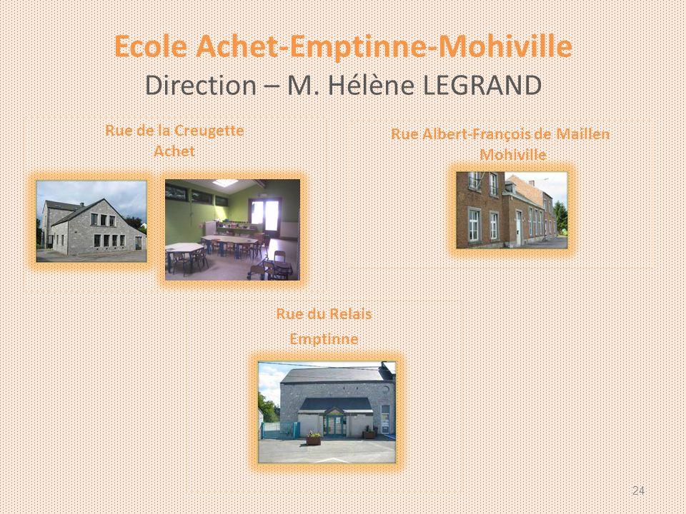 Ecole Achet-Emptinne-Mohiville Direction – M. Hélène LEGRAND