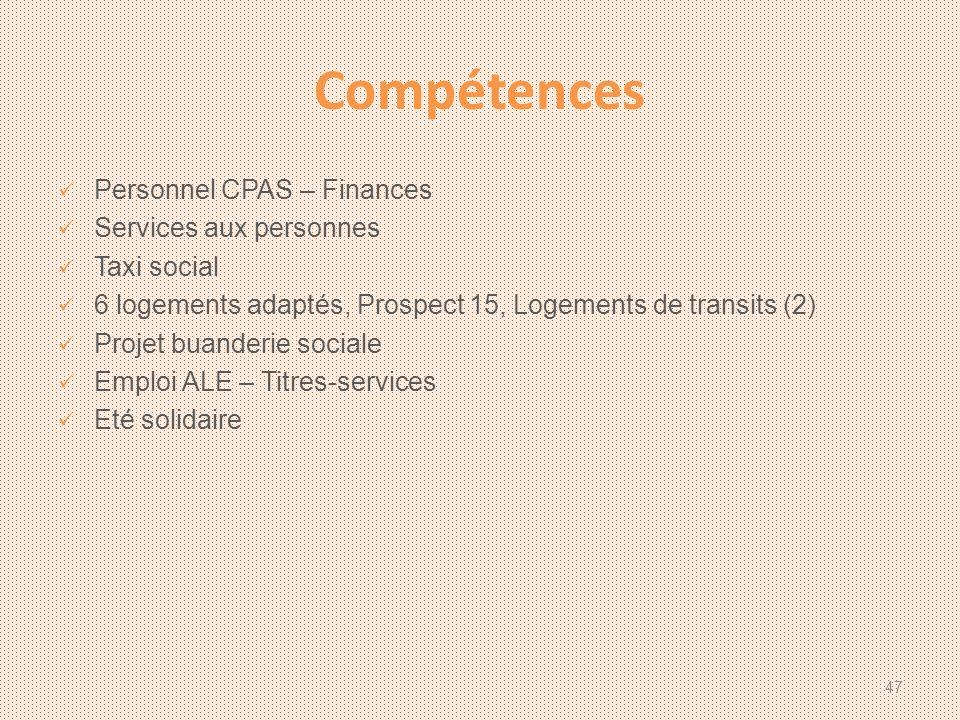 Compétences Personnel CPAS – Finances Services aux personnes