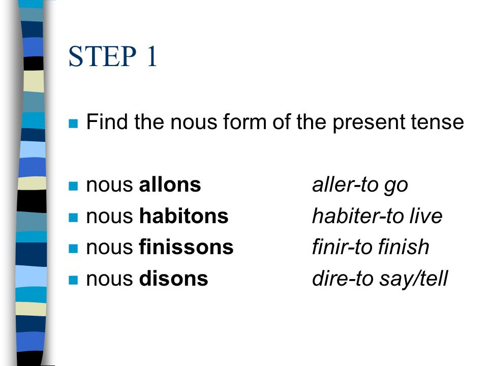 STEP 1 Find the nous form of the present tense nous allons aller-to go
