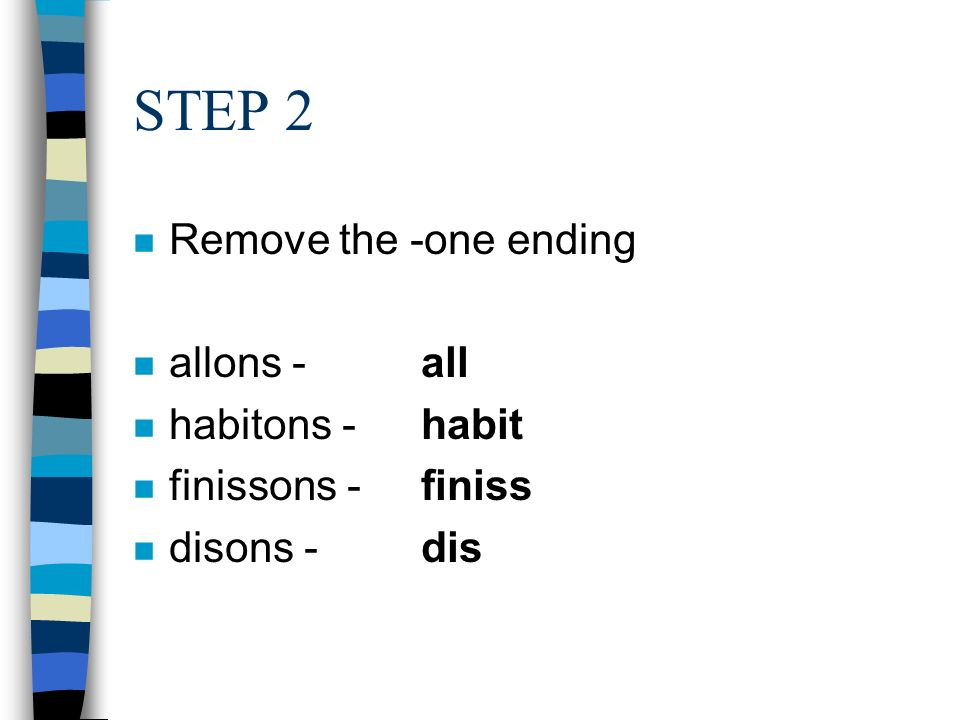 STEP 2 Remove the -one ending allons - all habitons - habit