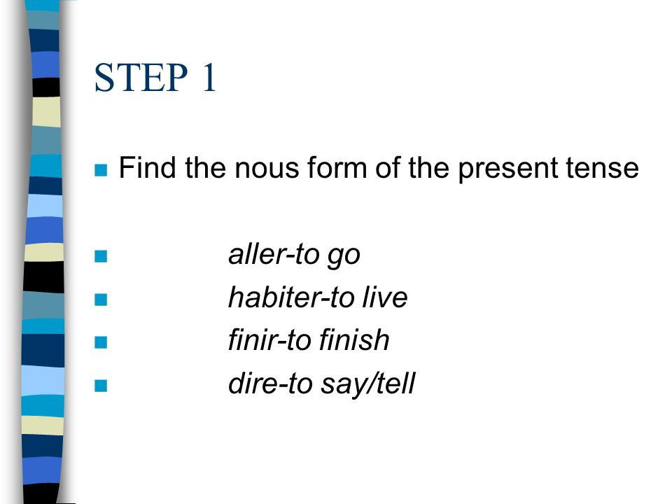 STEP 1 Find the nous form of the present tense aller-to go
