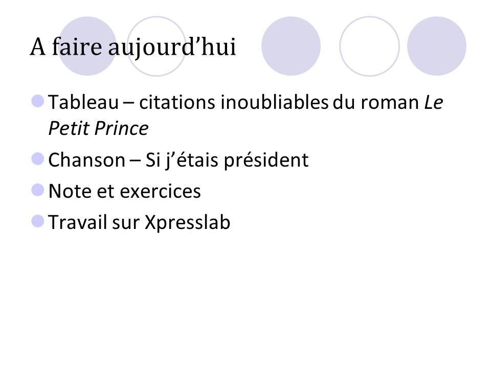 A faire aujourd'hui Tableau – citations inoubliables du roman Le Petit Prince. Chanson – Si j'étais président.