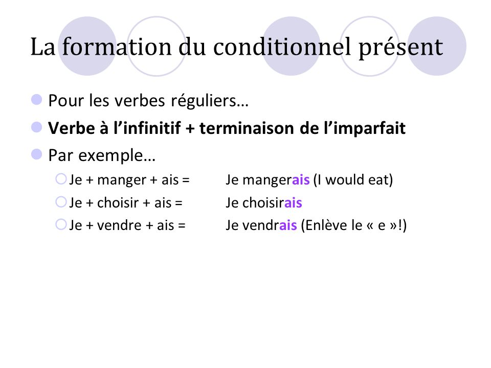 La formation du conditionnel présent