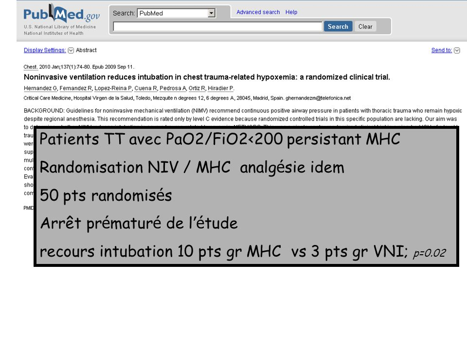 Patients TT avec PaO2/FiO2<200 persistant MHC