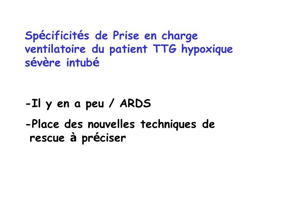 Spécificités de Prise en charge ventilatoire du patient TTG hypoxique sévère intubé