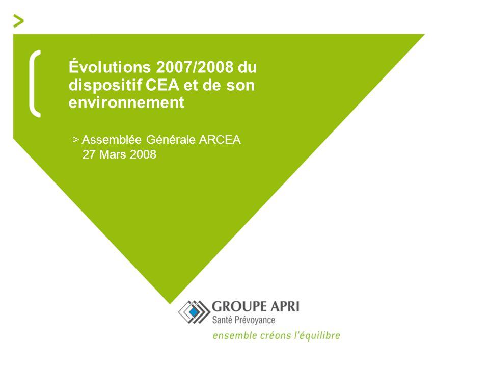 Évolutions 2007/2008 du dispositif CEA et de son environnement