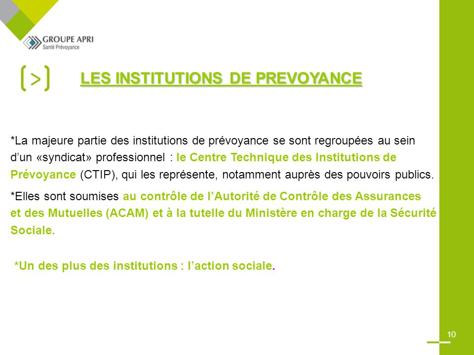 LES INSTITUTIONS DE PREVOYANCE