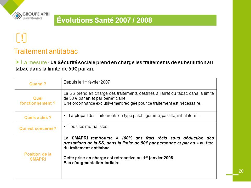 Évolutions Santé 2007 / 2008 Traitement antitabac