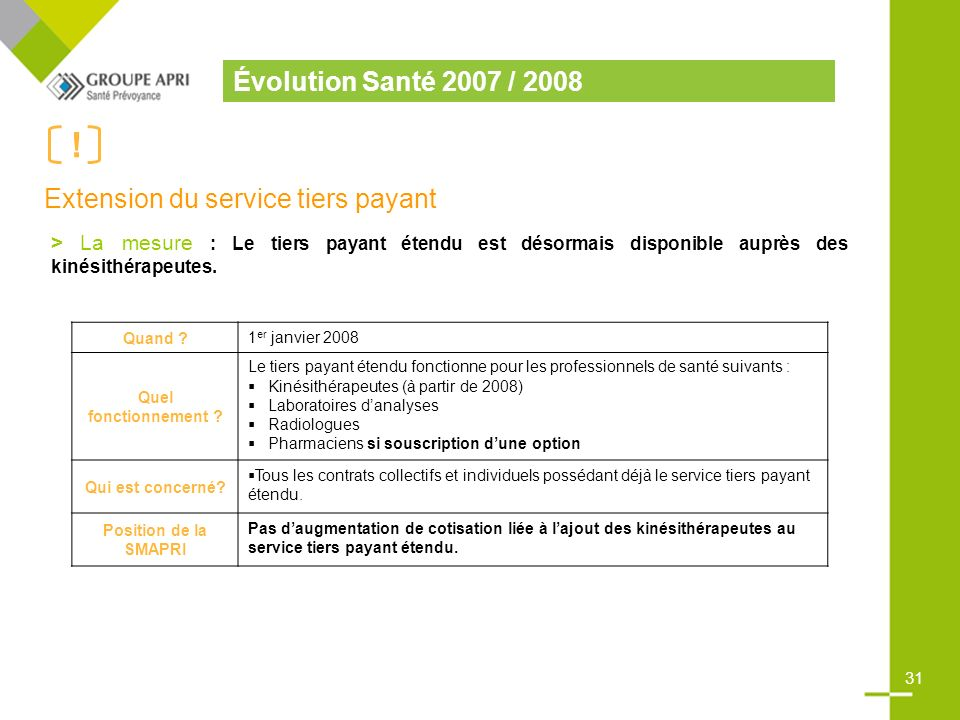 Extension du service tiers payant
