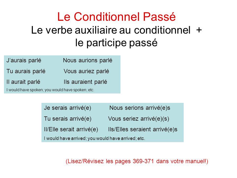 Le verbe auxiliaire au conditionnel +
