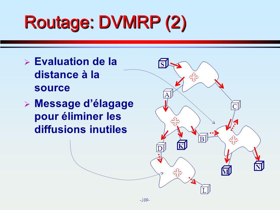 Routage: DVMRP (2) Evaluation de la distance à la source