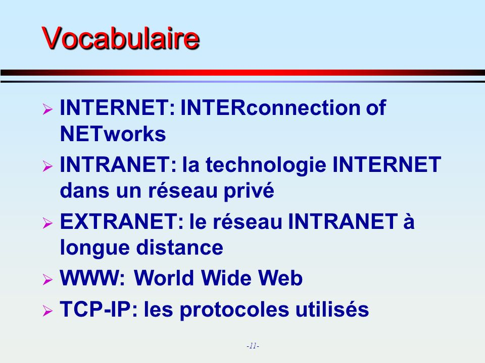 Vocabulaire INTERNET: INTERconnection of NETworks
