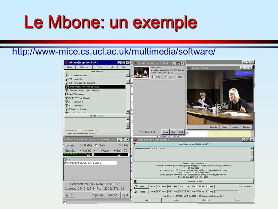 Le Mbone: un exemple http://www-mice.cs.ucl.ac.uk/multimedia/software/