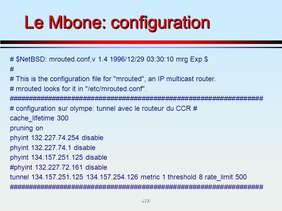 Le Mbone: configuration