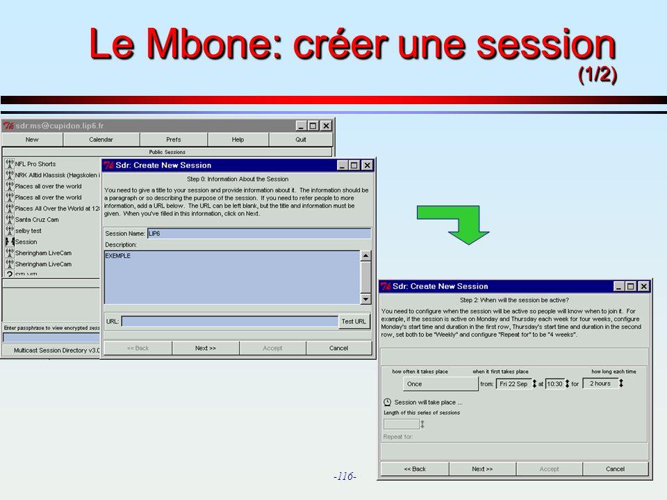 Le Mbone: créer une session (1/2)
