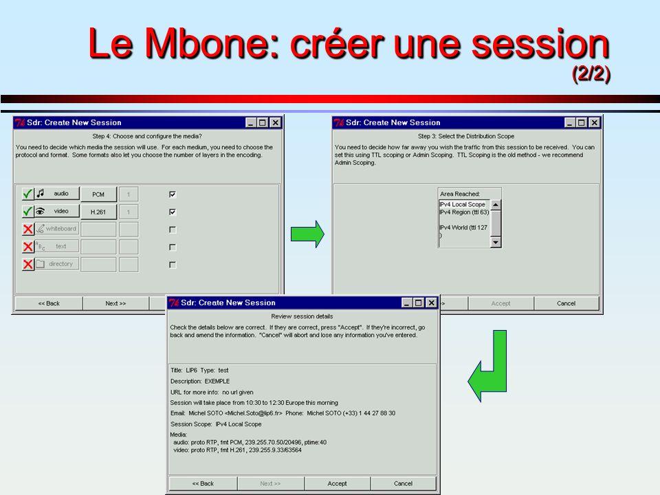 Le Mbone: créer une session (2/2)