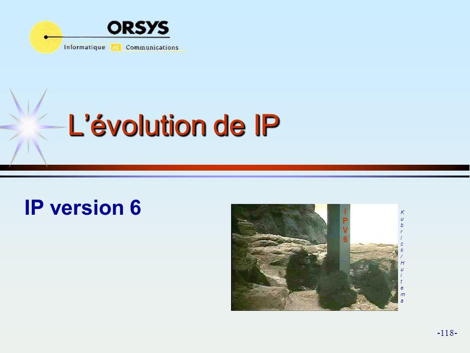 L'évolution de IP IP version 6 I P V 6 Kubrick/Huitema