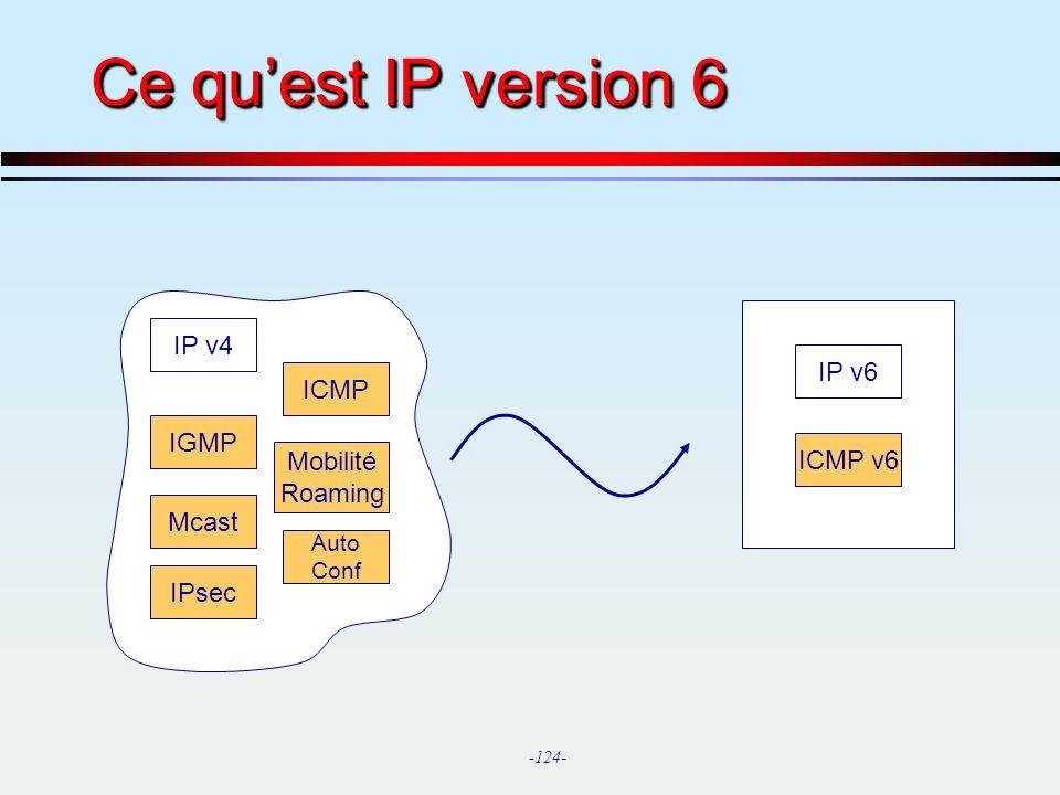 Ce qu'est IP version 6 IP v4 IP v6 ICMP IGMP ICMP v6 Mobilité Roaming