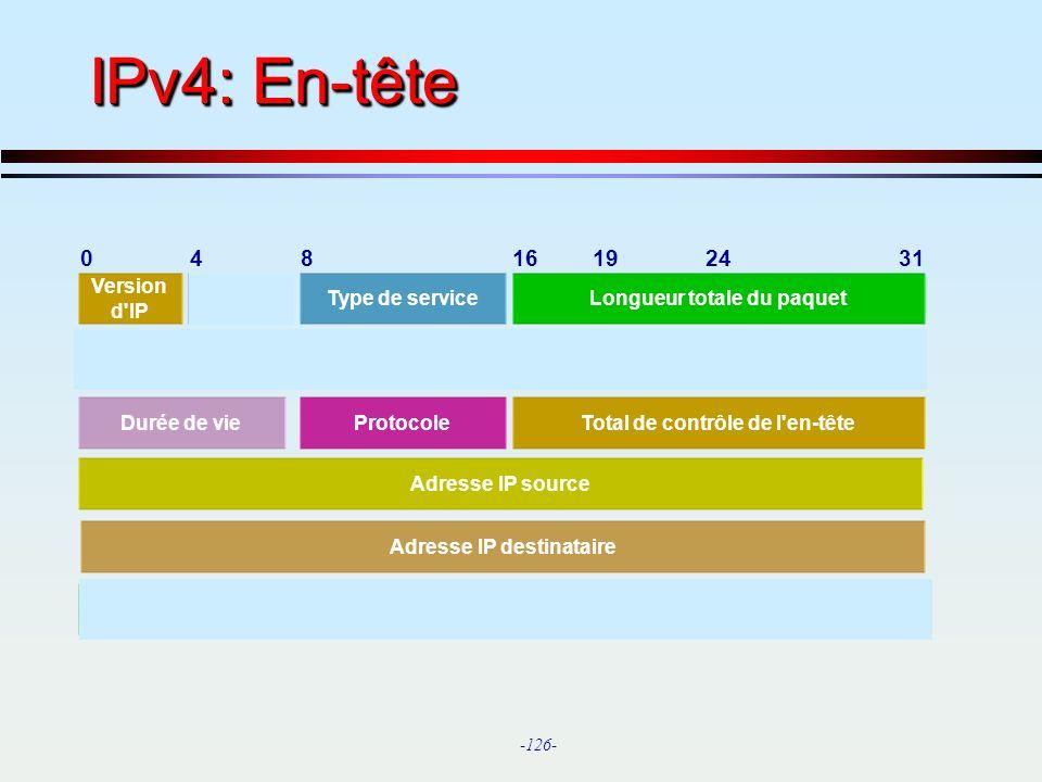 IPv4: En-tête 4 8 16 19 24 31 Identification Version d IP Longueur