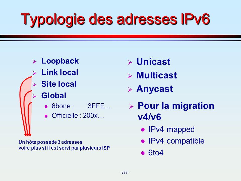 Typologie des adresses IPv6