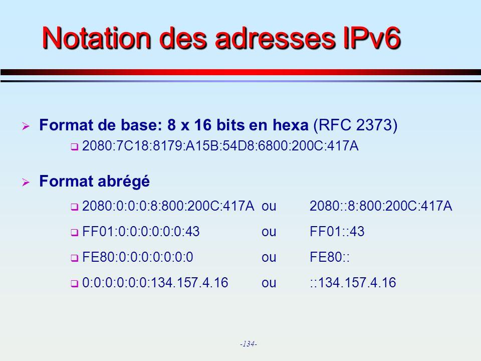 Notation des adresses IPv6