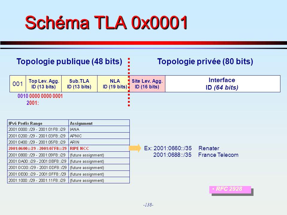 Schéma TLA 0x0001 Topologie publique (48 bits) Topologie privée (80 bits) 001. Top Lev. Agg.