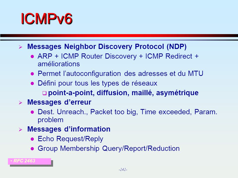 ICMPv6 Messages Neighbor Discovery Protocol (NDP)