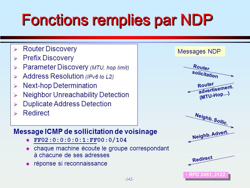 Fonctions remplies par NDP